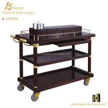 Four Wheels Wooden Material wine cart