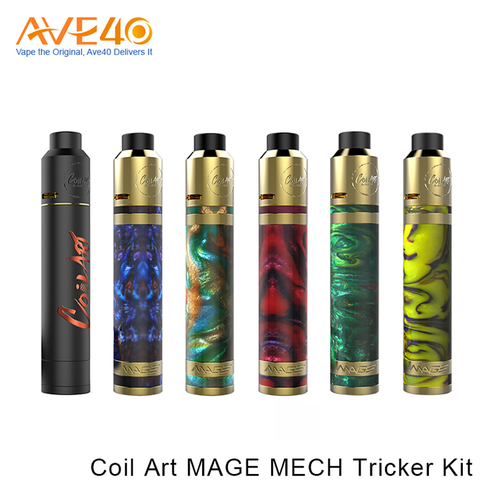 Multicolour Resin Coating Vape Pen Coil Art MAGE MECH Tricker Kit With Adjustable Airflow Tank