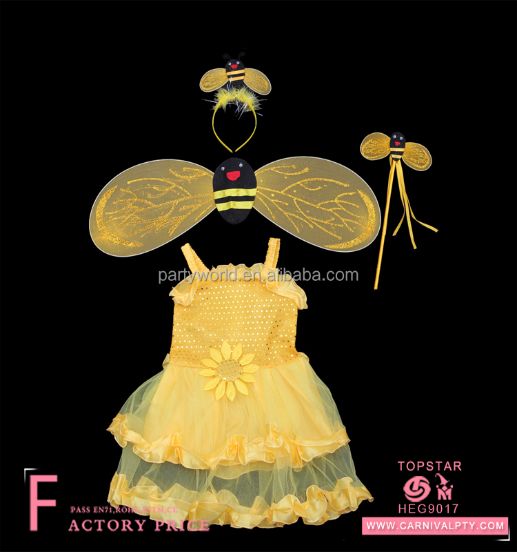 Feather angel garden wings party Bee Costume Set