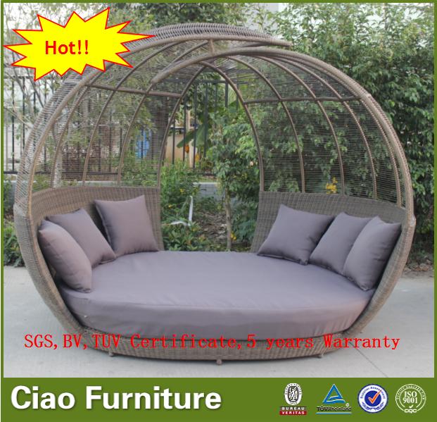 Jardín muebles de mimbre cama salón al aire libre sofá cama redonda ...