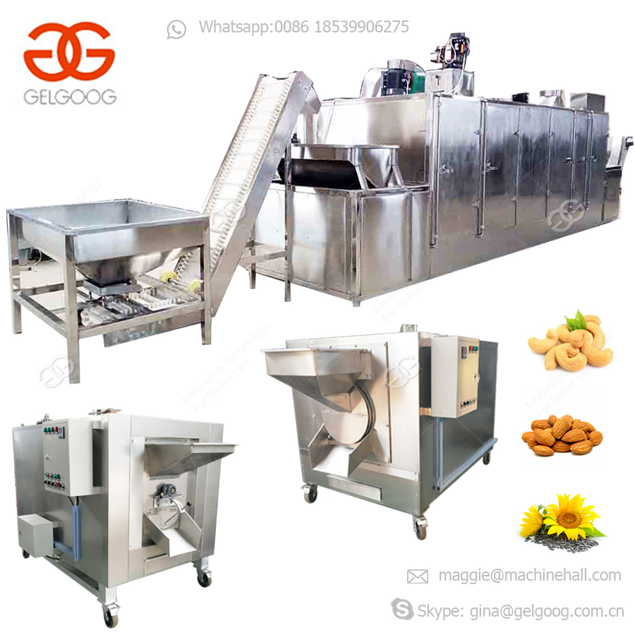 Commercial Price Cocoa Bean Peanut Groundnut Cashew Nut Roaster Machinery Soybean Automatic Sunflower Seeds Roasting Machine