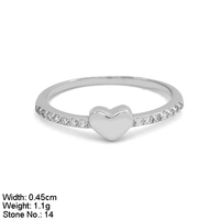 RZ9-007 925 Silver Ring CZ Stones Nice Design Plain Heart Ring