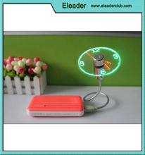 USB LED Fan Clock,Colorful LED Light USB Fan