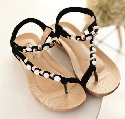 New design flat flip-flop shoes summer beads lady fashion woman Bohemia sandals