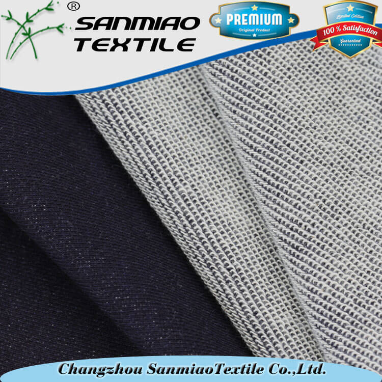 Changzhou yarn dyed indigo knit 100 cotton fleece fabric for sweater WHCP-01