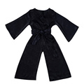 Adjustable waist strap bodysuit black formal baby girls jumpsuit