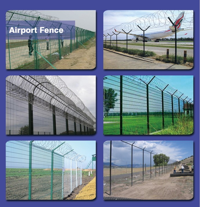 2018 Airport Area Most Safety And Popular chain link fence weight/galvanized barbed wire/green vinyl coated welded wire mesh fen