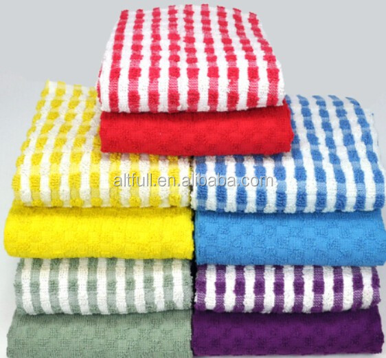 China wholesale bulk 100% cotton stripe super absorbent kitchen dish towels
