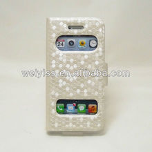 Bling White Imitation Leather Backstand Case for Apple iPhone 5 5G 4 4S