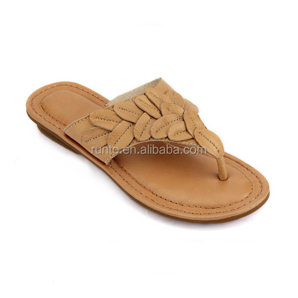 Indoor female shoes 2016 Malaysia fashion comfortable genuine leather slippers ladies flip flops slippers