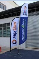 Custom company logo printed fitted stretch garden flag stand, fabric garden flag