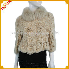 Fashion short ladies coat 2014 new style with fur trim flower pattern jacket