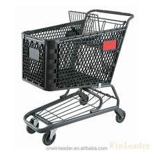 100% good quality metal frame plastic shopping trolley cart for huge retailers
