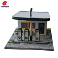 OEM polyresin 3D gas station statue memento model