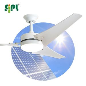 5 Speeds Remote Control LED Lamp Lighting 60 inch Solar Energy Powered Outdoor Indoor Gazebo Ceiling Fan With Battery