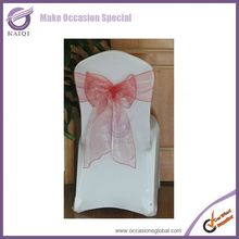 BS015 coral color lycra sheer organza wedding chair cover sashes bow for wedding decoration