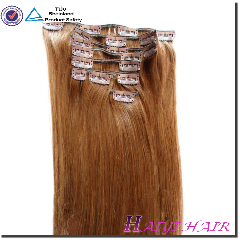 "20"" 160gram clip on hair extensions Double drawn European Russian virgin Pre-Bonded Hair extension clip in on hair extension"