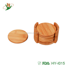 Non-toxic bamboo wood cup coaster set with holder