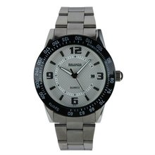 New Mens White Dial Black Bezel Date Stainless Steel Date Display Quartz Watch WM178