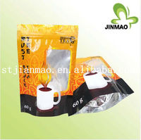 Hot sale printed aluminum tea bag/green coffee bags with window/standing food grade packaging pouch