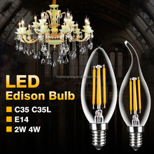 Wholesale 2W 4W Warm White E14 Base Dimmable Filament LED Edison Style Candle Light Bulb C35