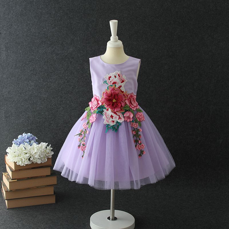 HOT Indian and Pakistan baby girls dress designs purple handmade rose flower big girls evening party dress for 10 Years old