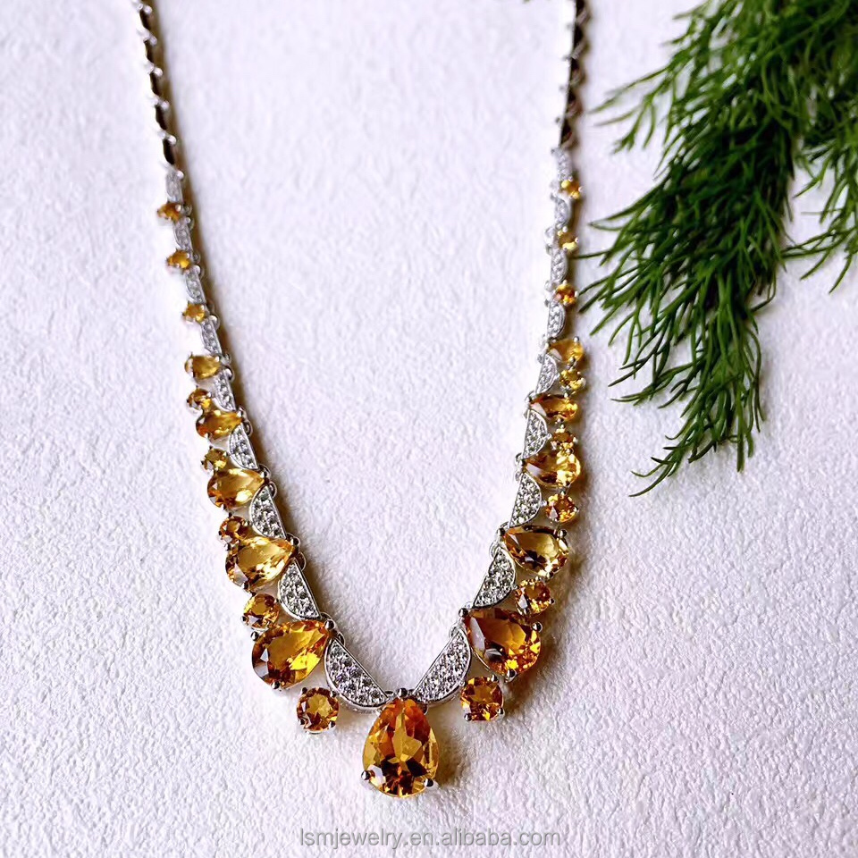 Fashionable sterling silver citrine necklace fashion jewelry