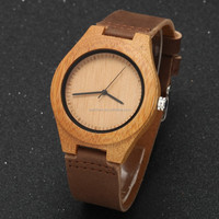 HQ1341 Wooden Watches Men with Date Genuine Leather Strap Bamboo Watch