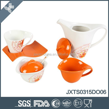 2016 hot sale new design oval shape 15pcs porcelain tea set