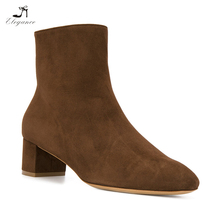 Luxury Women Popular Classic Simple Sheep Suede Leather Lamb Fur Mid Chunky Heel Winter Snow Bootie Ankle Boots