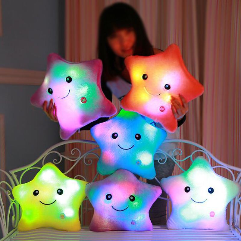 Luminous pillow Christmas Toys, Led Light plushs Pillows, Hot Colorful Stars Birthday Gift