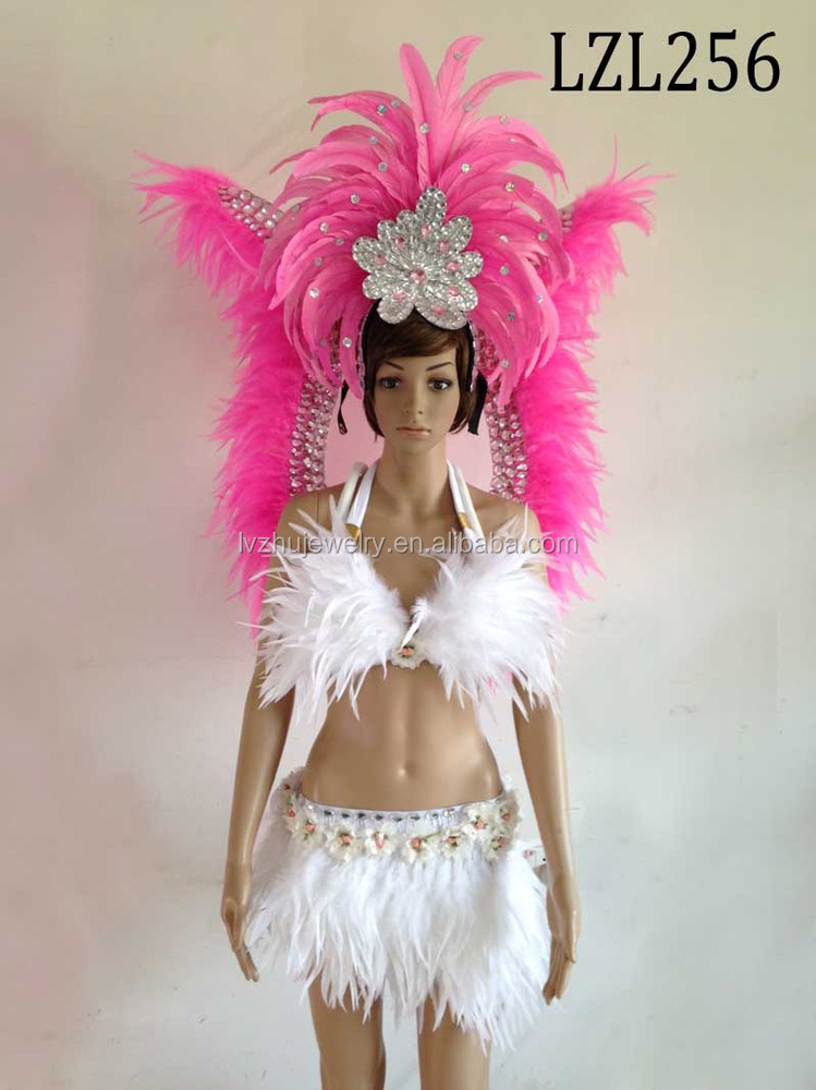 Showgirl/Dance Burlesque Feather samba costume LZL256