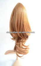 qingdao company manufacture golden synthetic hair ponytail
