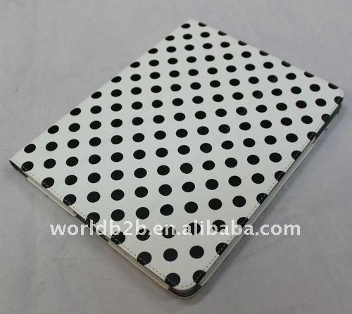 Dot design leather Case for iPad 2 with Stand