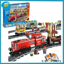 Lepin 02039 City Series Red Cargo Train Building Blocks for Adult