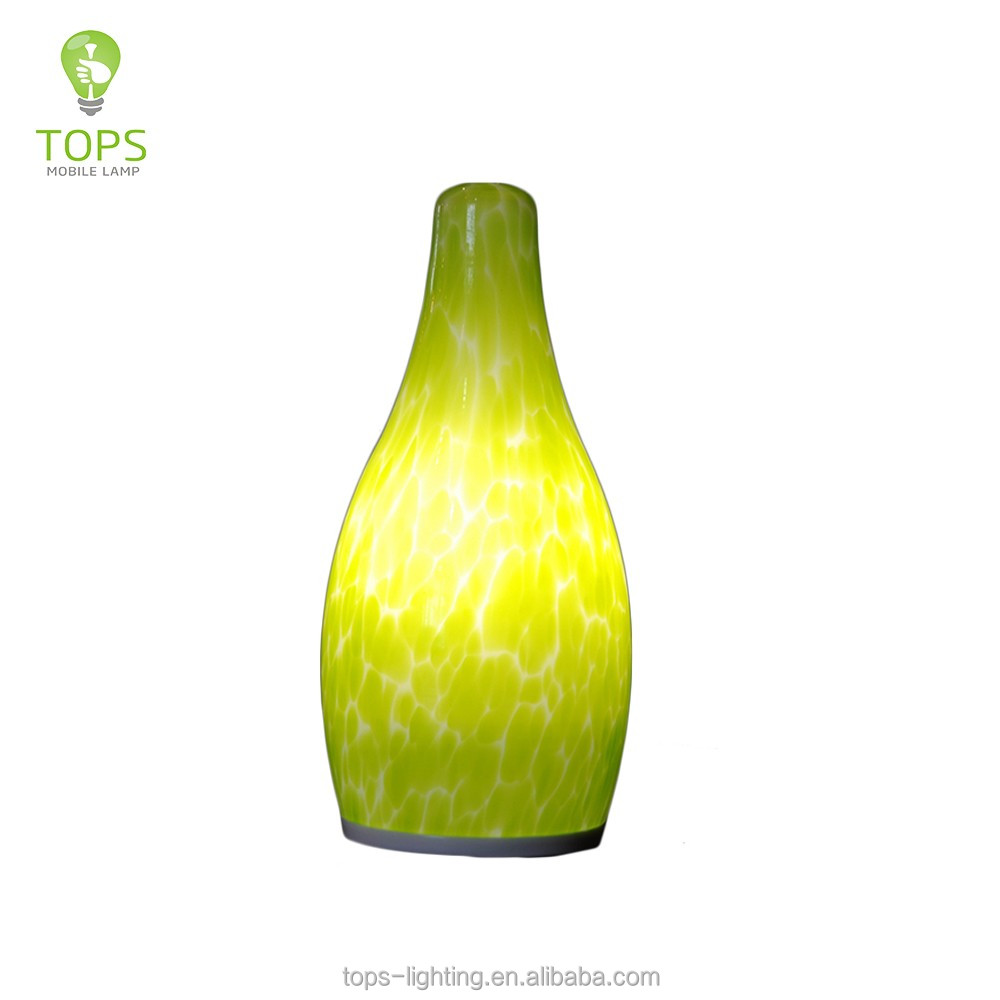 Mass supply small bottle shape green cordless camping dimmable led decorative light