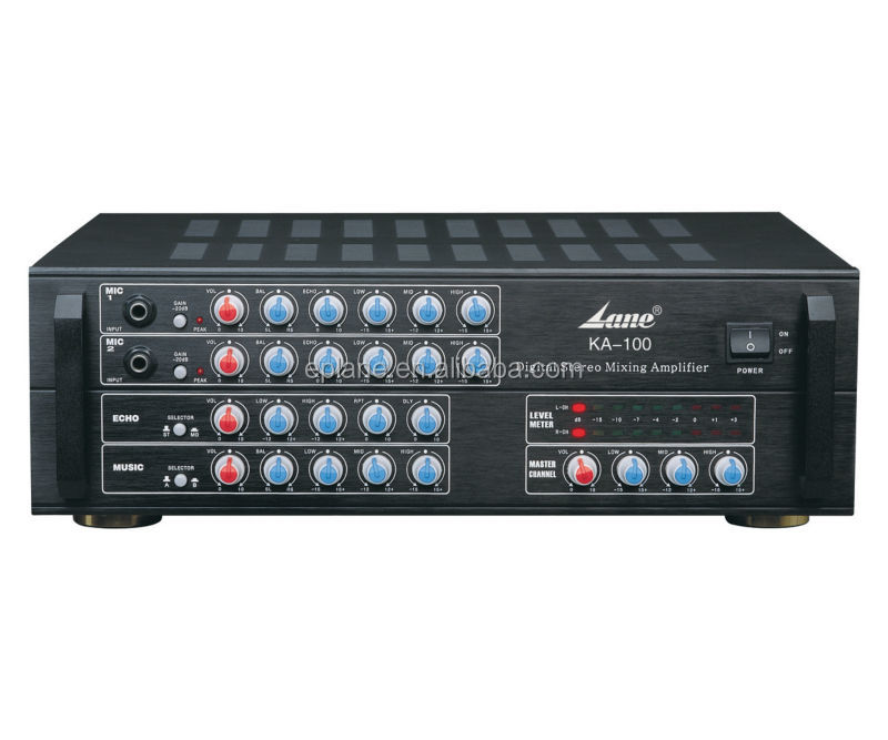 power amplifier with 2 channels digital stereo mixing amplifier 100W x 2 with High Sensitivity