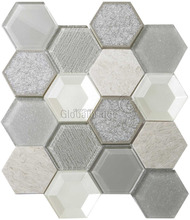 2017 new technique hexagon shape crystal glass mosaic tile for hotel decoration