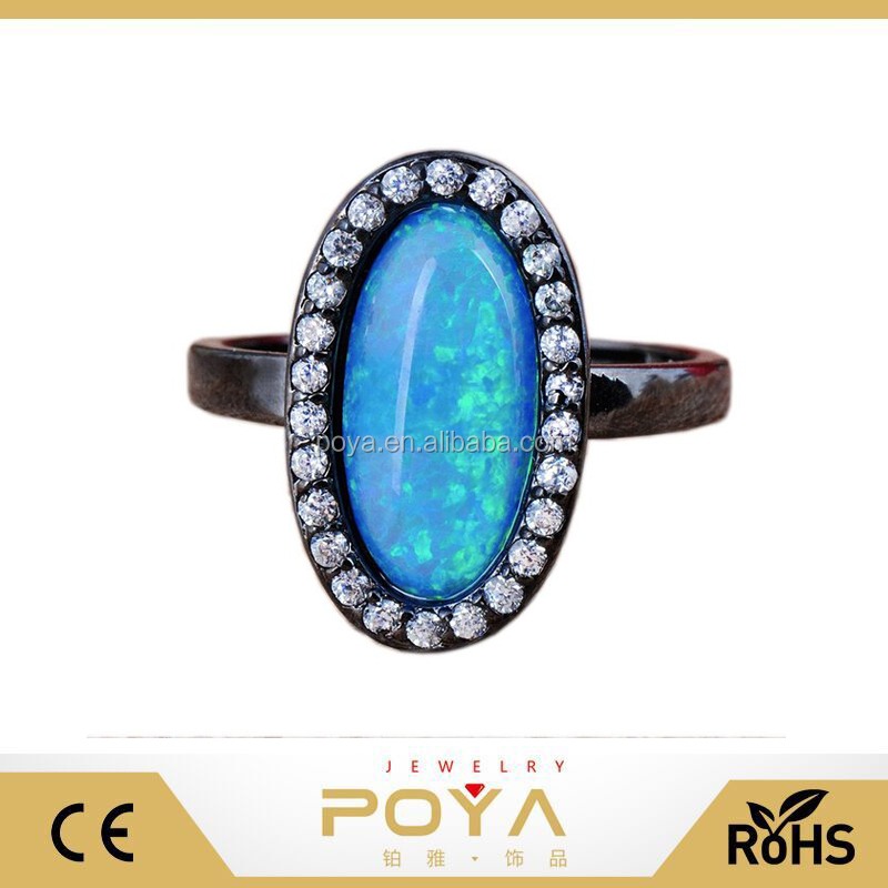 POYA Jewelry Single Main Opal Stone Stainless Steel Ring For Girls Blue Multicolor