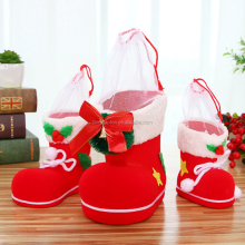 Red Shoes Merry Christmas Gift Treat Candy Wine Bottle Bag Santa Claus Suspender Pants Trousers Decor Christmas Gift Bags