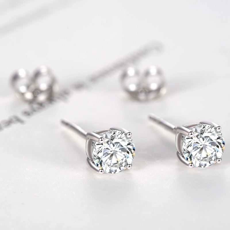 Starland White Gold 925 Sterling Silver 4 Claw Small Cute AAA Top Grade Sona 4mm/5mm/6mm CZ Diamond Post Stud Earrings
