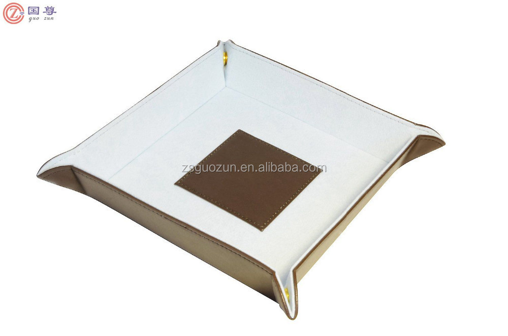 New Design Eco-friendly Brown Change Valet Tray Catchall Coin Case,Leather Tray Leather Try For Hotel Leather Desk Tray
