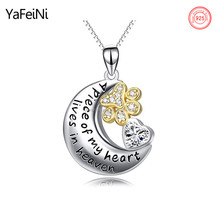 Wholesale 925 Sterling Silver Paw Print Moon Heart Necklace Pet Love Memory Jewelry