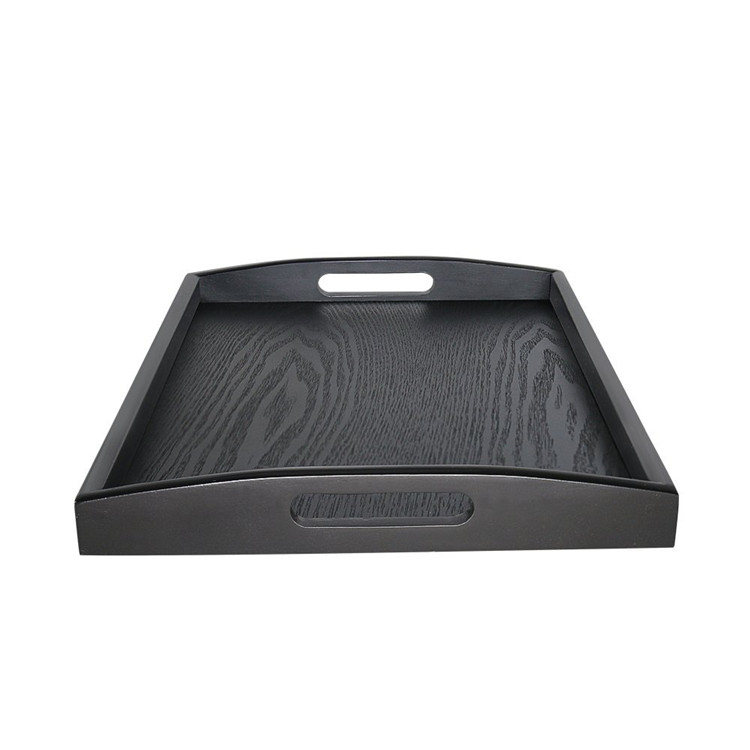 17inch black color wood material non toxic food serving wood tray