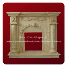 Natural beige marble carved indoor smokeless fireplace