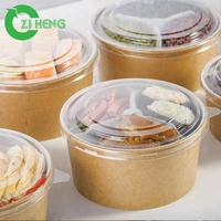 Disposable kraft paper bowl round salad container with clear plastic lid