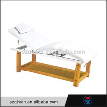 CE Certification wooden legs white color facial bed / cheap massage table