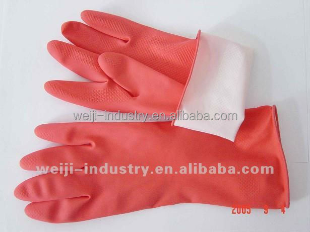 Cotton lined latex rubber household cleaning hand gloves