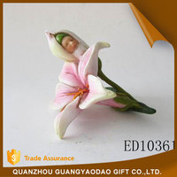 Eco-Friendly pink lily blossom angel statue souvenir items gift item