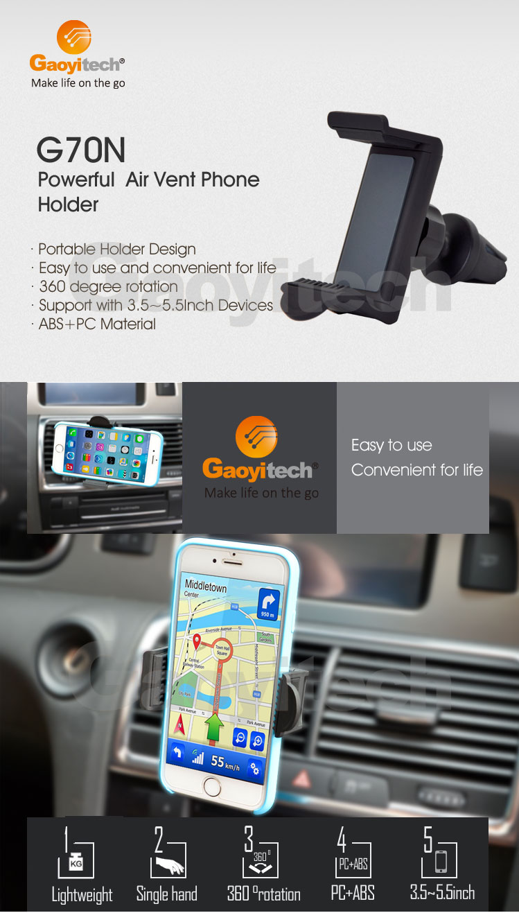 2017 hot sales new design car air vent holder smartphone holder